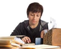 Femme avec des finances de ménage image stock