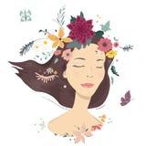 Femme avec des fleurs illustration de vecteur