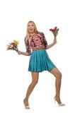 Femme avec des fleurs sur le blanc Photographie stock