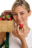 Femme avec des fraises Image libre de droits