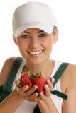 Femme avec des fraises Photos libres de droits
