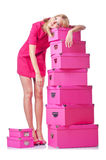 Femme avec des giftboxes images stock