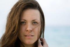 Femme avec des œil bleu Photographie stock