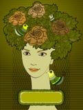 Femme avec des lames et des oiseaux sur la tête Photographie stock libre de droits