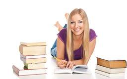 Femme avec des livres image stock