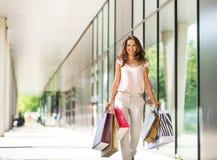 Femme avec des paniers marchant sur l'allée de mail Photographie stock libre de droits