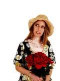 Femme avec des roses. Photos stock
