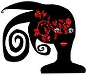 Femme avec des roses dans son visage Images libres de droits