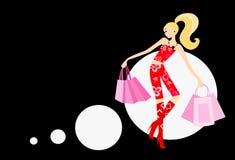 Femme avec des sacs à main illustration de vecteur