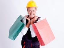Femme avec des sacs à provisions Images libres de droits