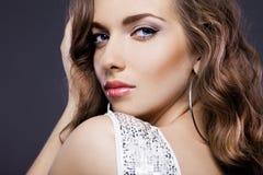 Femme avec des yeux bleus Photographie stock libre de droits