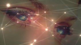 Femme avec des yeux bleus contre des connexions de données illustration stock
