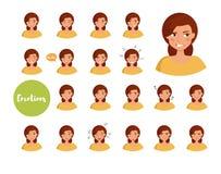 Femme avec différentes émotions Photos stock
