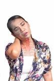 Femme avec douleur cervicale Photographie stock libre de droits