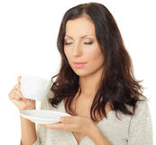 Femme avec du café Photographie stock libre de droits