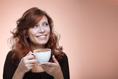 Femme avec du caf? aromatique photo stock