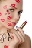Femme avec du charme avec l'art de visage sur le thème de Paris Photographie stock libre de droits