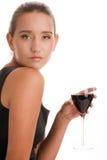 Femme avec du vin Photographie stock libre de droits