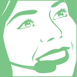 Femme avec l'écouteur Image stock