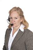 Femme avec l'écouteur en fonction Images stock