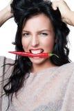 Femme avec l'épice chaude Photos stock