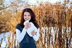 Femme avec l'appareil de chauffage de fourrure à disposition en hiver dehors Photo libre de droits