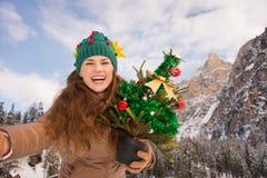 Femme avec l'arbre de Noël prenant le selfie devant des montagnes Photo stock