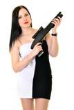 Femme avec l'arme à feu Image libre de droits
