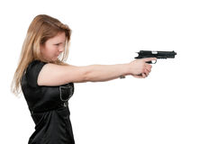Femme avec l'arme à feu Image stock