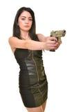 Femme avec l'arme à feu Photos stock
