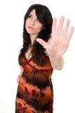 Femme avec l'assiette Photographie stock libre de droits