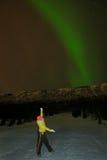 Femme avec l'aurore photographie stock libre de droits