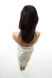 Femme avec l'essuie-main Photographie stock