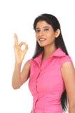 Femme avec l'excellent geste photos libres de droits