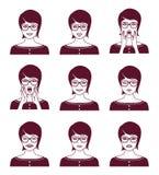 Femme avec l'expression du visage différente Photographie stock libre de droits