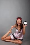 femme avec l'horloge d'alarme Image libre de droits