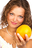 Femme avec l'orange Images libres de droits