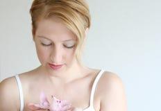 Femme avec l'orchidée Photos libres de droits