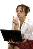 Femme avec l'ordinateur Photographie stock libre de droits
