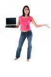 Femme avec l'ordinateur portable Photo libre de droits