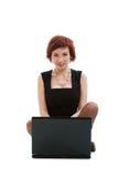 Femme avec l'ordinateur portatif. image stock