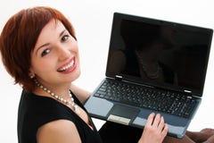 Femme avec l'ordinateur portatif. photographie stock