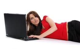Femme avec l'ordinateur portatif Images stock
