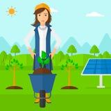 Femme avec l'usine et la brouette illustration de vecteur