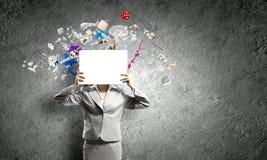 Femme avec la bannière Photographie stock libre de droits