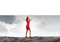 Femme avec la bannière Photo libre de droits