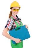 Femme avec la boîte à outils d'isolement Photographie stock libre de droits