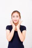 femme avec la brosse de cosmétiques photos stock