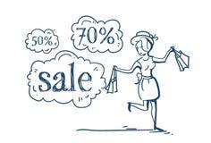 Femme avec la bulle de achat de causerie de prix discount de concept de vente d'achats sur le griffonnage blanc de croquis de fon Photo libre de droits