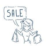 Femme avec la bulle de achat de prix discount de concept de vente d'achats sur le griffonnage blanc de croquis de fond Photos libres de droits